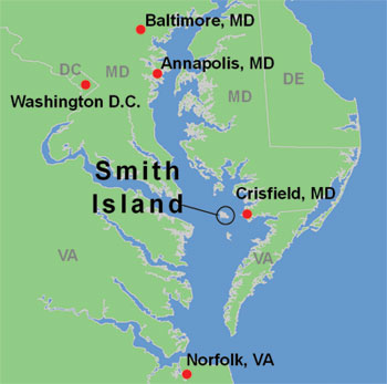 map of Chesapeake Bay and Smith Island